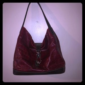 Red croc print dooney and burke purse